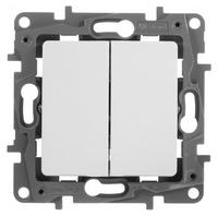 Выключатель 2х1-полюсный Legrand Etika 672202 10А белый