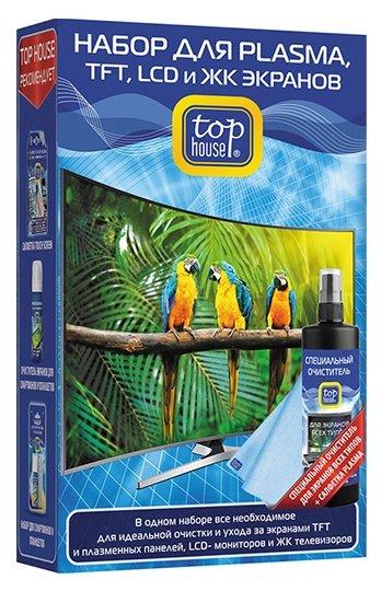 Набор Top House для PLASMA, TFT, LCD и ЖК экранов (2 предмета) чистящий спрей+сухая салфетка для экрана