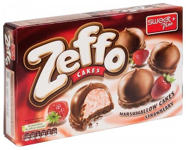 Пирожное SWEET + PLUS Zeffo маршмеллоу в какао-молочной глазури с клубникой, 150 гр.