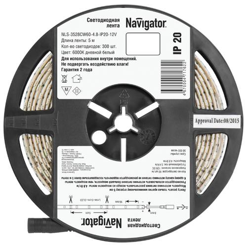 Светодиодная лента Navigator NLS-3528СW60-4.8-IP20-12V R5 5 мСветодиодные ленты<br>