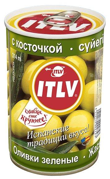 ITLV Оливки зеленые с косточкой в рассоле, жестяная банка 300 г