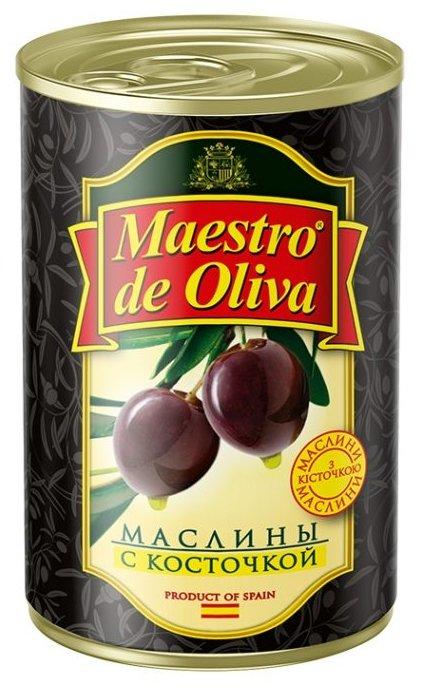 Maestro De Oliva Маслины в рассоле с косточкой, жестяная банка 280 г