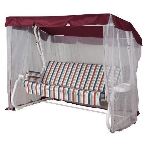 Садовые качели 3-местные с москитной сеткой Удачная мебель Варадеро Премиум белый/красный/полоска.