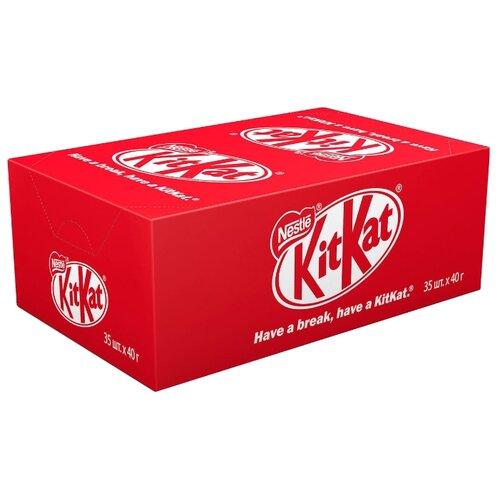 Батончик KitKat молочный шоколад с хрустящей вафлей, 40 г, коробка (35 шт.) matti батончик мюсли кокос и молочный шоколад 6 шт по 24 г