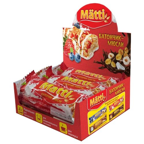Злаковый батончик Matti Энергия злаков в йогуртовой глазури Клубника и йогурт, 6 шт matti батончик мюсли кокос и молочный шоколад 6 шт по 24 г