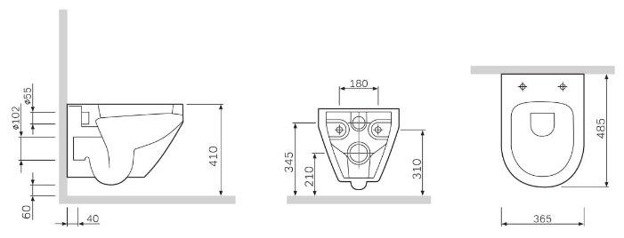 Чаша унитаза подвесная AM.PM Spirit C701700WH с горизонтальным выпуском