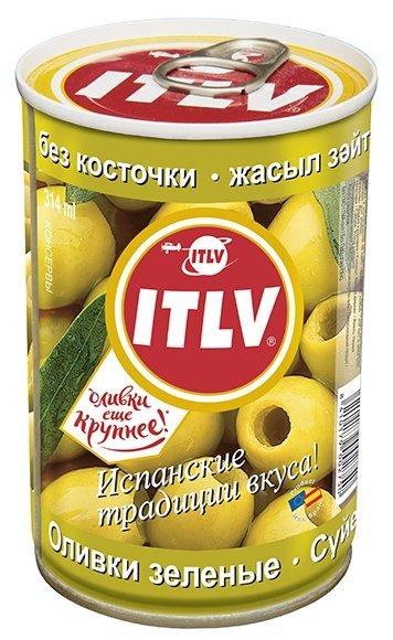 ITLV Оливки зеленые без косточки в рассоле, жестяная банка 300 г