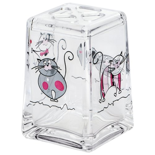 Стакан для зубных щеток Tatkraft Acryl Funny Cats 12967 прозрачный с котами стакан для зубных щеток tatkraft funny cats