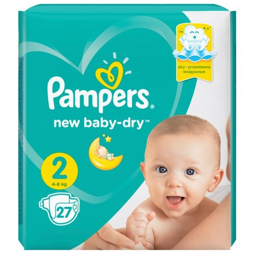 Pampers подгузники New Baby Dry 2 (4-8 кг) 27 шт. pampers подгузники pampers new baby dry 4–8 кг размер 2 94 шт