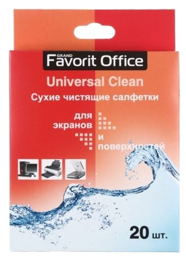 Favorit Office Universal Clean сухие салфетки 20 шт. для экрана, для оргтехники