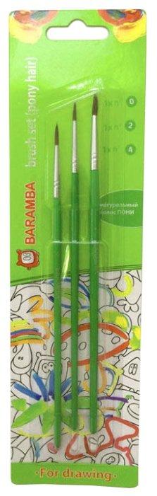 Набор кистей BARAMBA пони, круглые, с длинной ручкой, 3 шт. (B82024)
