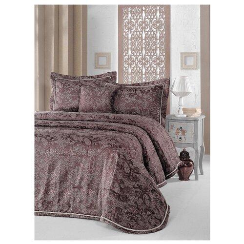 цена на Комплект с покрывалом KARNA LARA 842 260x260 (50x70+5)*2 см, коричневый