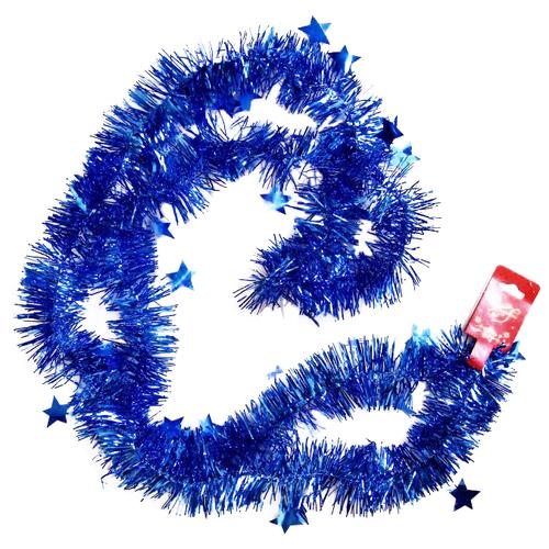 Мишура Феникс Present новогодняя со звездами 200 х 6 см, синий magic time мишура золотые листья 6 200 см