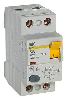 УЗО IEK 30мА тип AC ВД1-63 MDV10-2-063-030 2 полюса