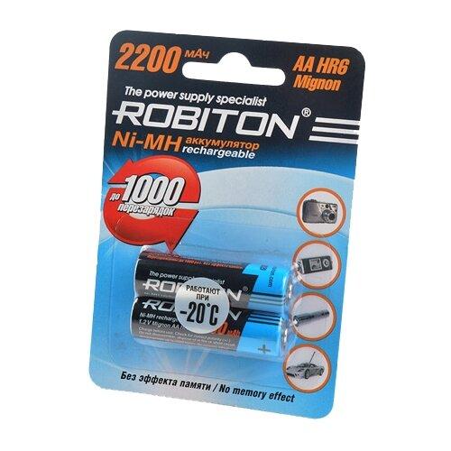 Фото - Аккумулятор Ni-Mh 2200 мА·ч ROBITON AA HR6 Mignon 2200, 2 шт. аккумулятор ni mh 200 ма·ч robiton 9v крона 6f22 200 1 шт