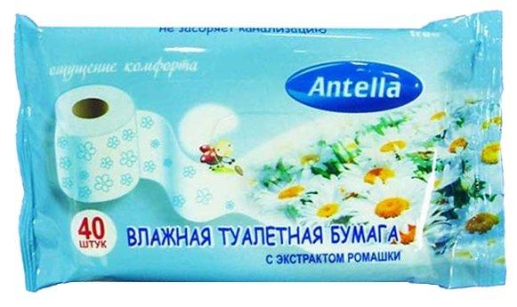 Влажная туалетная бумага Antella с экстрактом ромашки 40 шт.