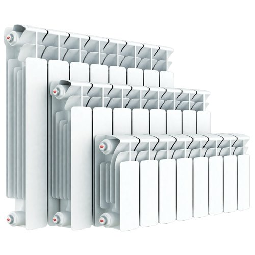 Радиатор секционный биметаллический Rifar Base 500 x9 теплоотдача 1836 Вт, подключение универсальное боковое RAL 9016 биметаллический радиатор rifar рифар b 500 нп 10 сек лев кол во секций 10 мощность вт 2040 подключение левое