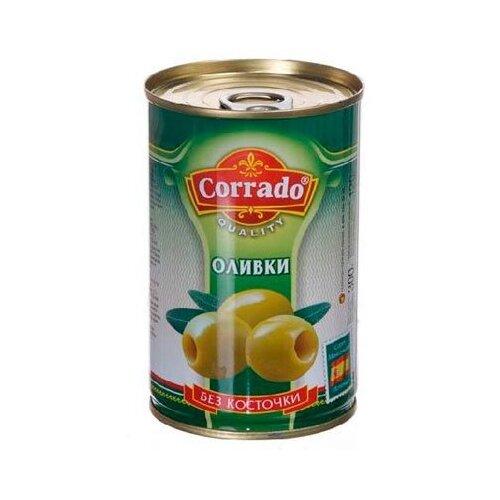 Corrado Оливки без косточки в рассоле, жестяная банка 300 г 314 млМаслины, оливки, каперсы консервированные<br>
