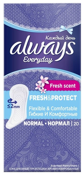 Always Прокладки гигиенические ежедневные Каждый день Fresh & Protect Нормал 20 (Always, )