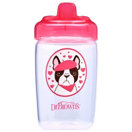 Купить Поильник-непроливайка Dr. Brown s Sippy Cup, 350 мл розовая собачка, Dr. Brown's, Поильники