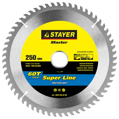 Пильный диск STAYER Super Line 3682-250-32-60 250х32 мм круг пильный твердосплавный stayer master 3680 250 30 24 fast line по дереву 250х30мм 24t