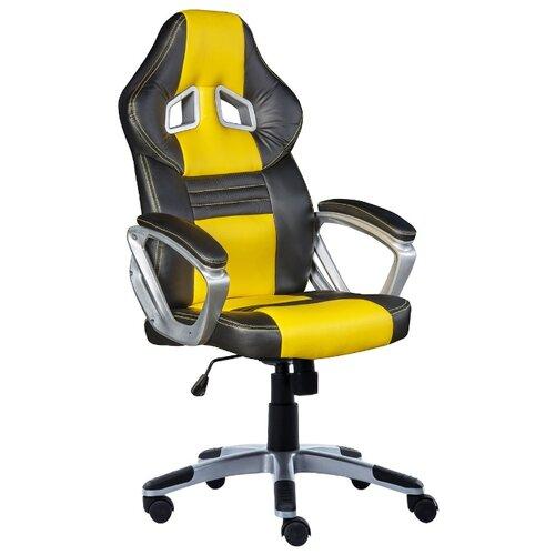 Компьютерное кресло COSTWAY ZK1302, обивка: искусственная кожа, цвет: черный/желтыйКомпьютерные кресла<br>