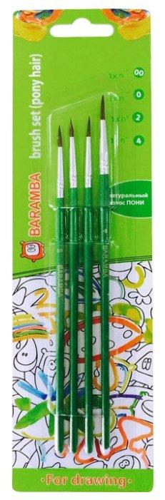 Набор кистей BARAMBA пони, круглые, с длинной ручкой, 4 шт. (B8199024)
