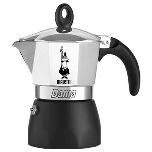 Фото - Гейзерная кофеварка Bialetti Dama Gran Gala (3 порции), серебристый/черный гейзерная кофеварка bialetti aeternum divina 4 порции металлик