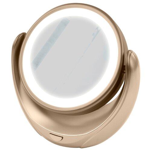 Зеркало косметическое настольное Marta MT-2653 с подсветкой золотой жемчуг