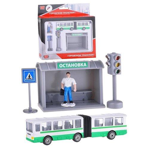 Купить ТЕХНОПАРК Городской транспорт Автобус с остановкой серый/зеленый/белый/голубой/черный, Детские парковки и гаражи