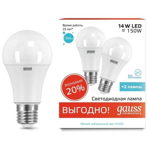 Упаковка светодиодных ламп 2 шт gauss E27, A60, 14ВтЛампочки<br>