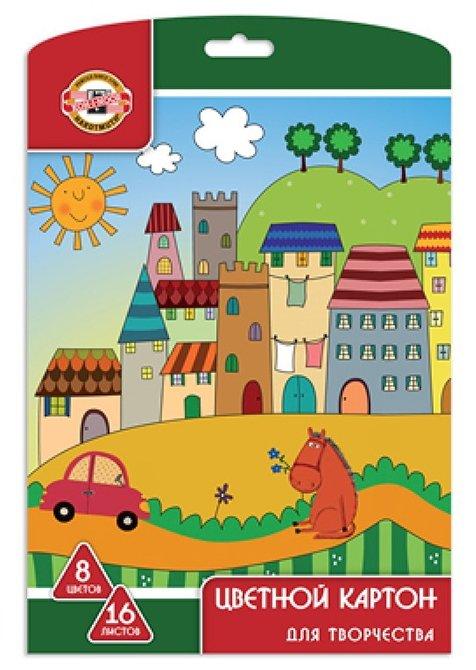 Цветной картон мелованный KOH-I-NOOR, A4, 16 л., 8 цв.