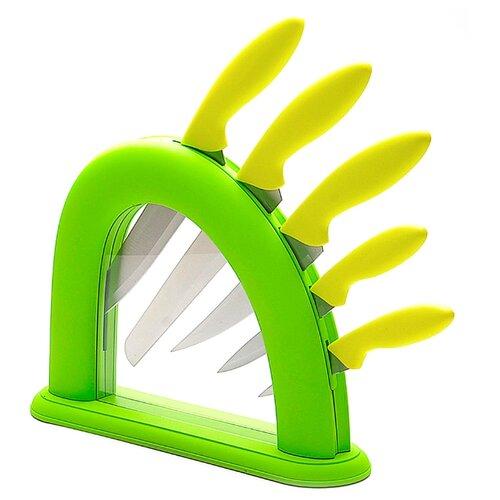 Набор MAYER & BOCH 5 ножей с подставкой 22541 / 22542 желто-зеленый / салатовыйНаборы ножей<br>