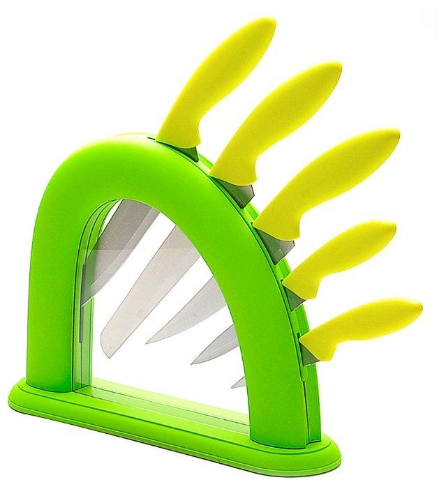 Набор MAYER & BOCH 5 ножей с подставкой 22541 / 22542 желто-зеленый / салатовый