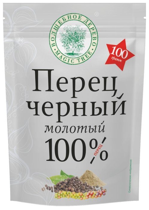 Волшебное дерево Пряность Перец черный молотый, дой-пак, 100 г