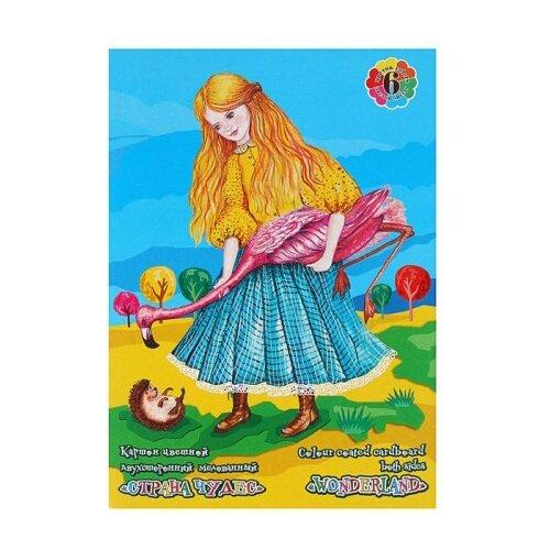 Цветной картон двусторонний мелованный Страна чудес Лилия Холдинг, A3, 6 л., 6 цв.