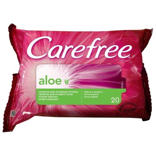 Carefree Влажные салфетки Алоэ для интимной гигиены, 20 штСредства для интимной гигиены<br>