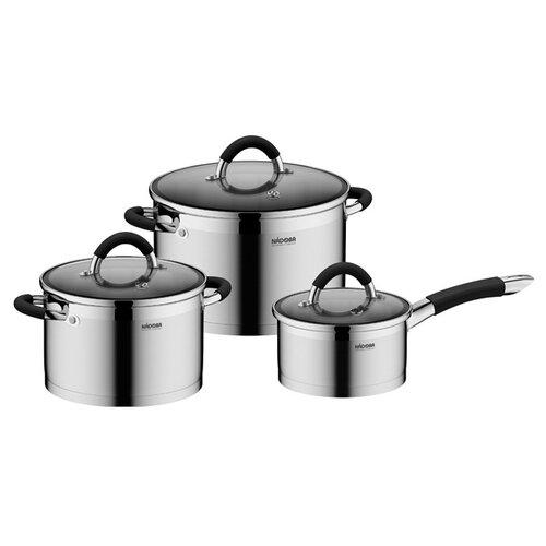 Набор посуды Nadoba Olina 726418 6 пр. серебристый/черный