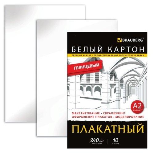 Картон белый BRAUBERG 10 листов 124764