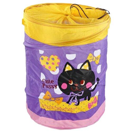Фото - Корзина Наша игрушка Котенок 38х46 см (10033-3) фиолетовый товары для праздника наша игрушка вертушка цветочек с липестками 35 см