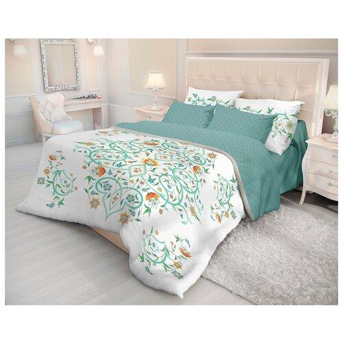 Постельное белье 1.5-спальное Волшебная ночь Fancy 716265 ранфорс белый/зеленыйКомплекты<br>