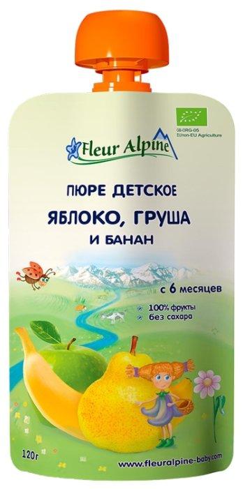 Пюре Fleur Alpine яблоко, груша и банан (с 6 месяцев) 120 г, 1 шт