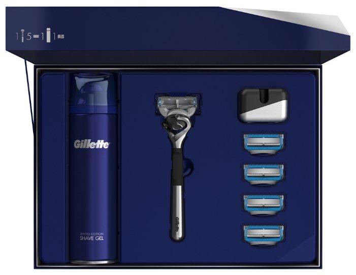 Набор Gillette подарочный: подставка, гель для бритья Fusion Ultra Sensitive 200 мл, бритвенный станок Fusion5 ProShield Chill Flexball ограниченная серия с хромированной ручкой