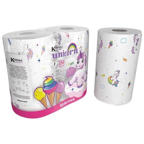 Полотенца бумажные World Cart Kartika collection Unicorns белые с рисунком двухслойные 2 рул. салфетки бумажные world cart товары для дома белый