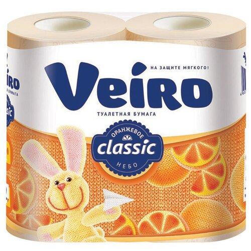 Туалетная бумага Veiro Classic Оранжевое небо двухслойная 4 рул.