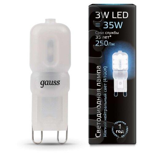 Лампа светодиодная gauss 107409203, G9, JCD, 3Вт лампа светодиодная gauss 207707203 g4 jc 3вт