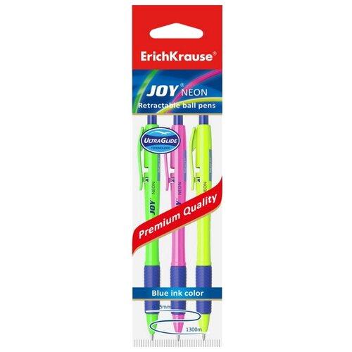 Купить ErichKrause Набор шариковых ручек Ultra Glide Technology JOY Neon, 0.35 мм (43344EK), синий цвет чернил, Ручки