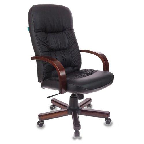 Компьютерное кресло Бюрократ T-9908/WALNUT для руководителя, обивка: натуральная кожа, цвет: черный компьютерное кресло бюрократ t 9927walnut low для руководителя обивка натуральная кожа цвет черный