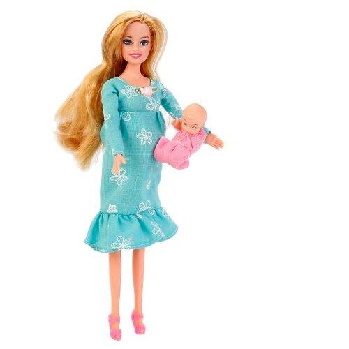 Кукла Карапуз Беременная София в бирюзовом платье с ребенком, 29 см, 66308-2-S-BBКуклы и пупсы<br>