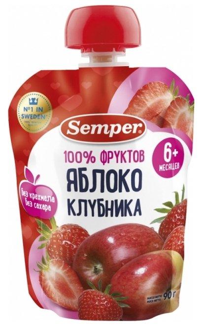 Пюре Semper яблоко и клубника (с 6 месяцев) 90 г, 1 шт